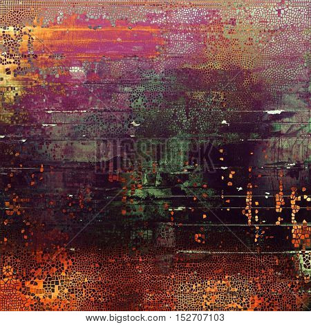 Old style design, textured grunge background with different color patterns: yellow (beige); gray; green; red (orange); purple (violet); pink