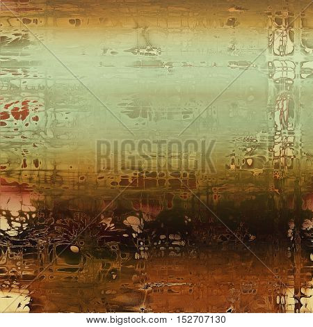 Colorful vintage background, grunge texture with scratches, stains and different color patterns: yellow (beige); brown; gray; green; red (orange); cyan