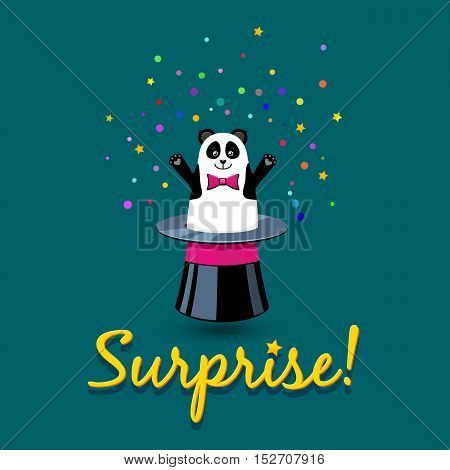 Surprise! Vector Cartoon Card With Funny Cute Panda Instead Of Rabbit In Magic Hat.