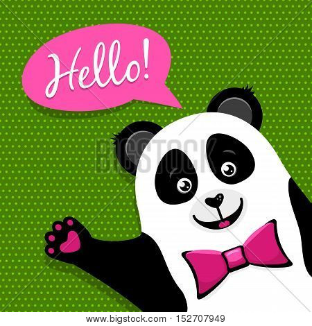 Cartoon Funny Cute Panda Rising Paw To Greeting And Saying Hello In Speech Bubble. Vector Colorful F