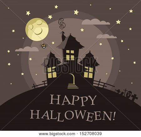 Poster, banner or background for Halloween Party night with haunted house. Moon and stars. Modern flat design.