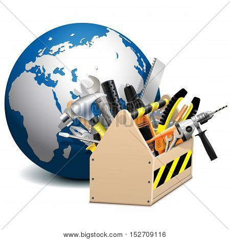 Vector Toolbox with Globe isolated on white background