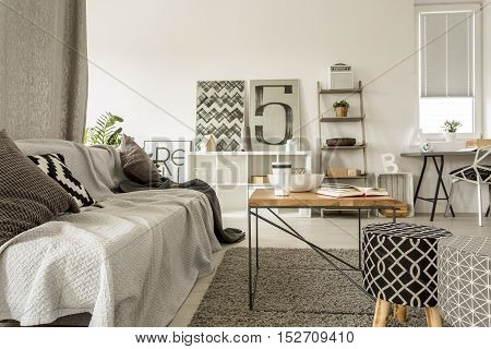Apartment With Sofa And Table