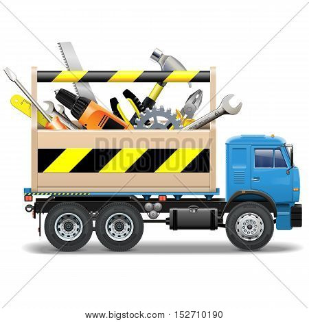 Vector Toolbox and Truck isolated on white background