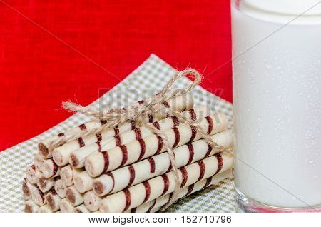 Stack Of Cookies Associated Rope Shot Closeup With Cold Milk