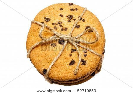 Round Cookies Isolated Decorative Rope Tied