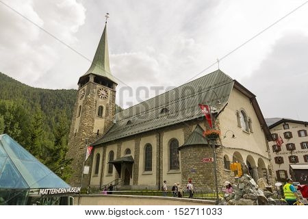 The Parish church of St Mauritius, Zermatt, Switzerland on Sep 12, 2016. It is listed in the Swiss Inventory of Cultural Property of Regional Significance because of its altars and baptismal font.