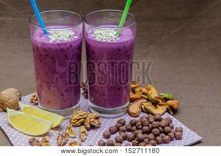 Cups Homemade Smoothies With Straws. Useful Food Fresh Raw Foods.