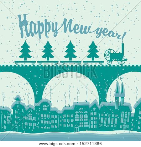 Christmas card with a vintage steam train rides on the bridge over the old city in the winter landscape and christmas tree