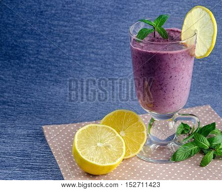 Healthy Food, Fresh Smoothies From Currants And Blueberries With Lemon