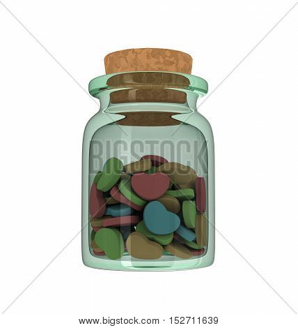 Isolated Closeup Of Medicine Glass Bottle With Colorful Heart Shaped Love Pills.