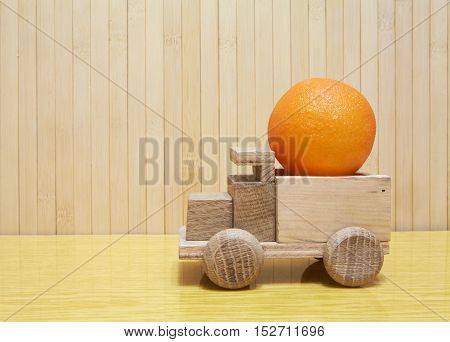 Toy Wooden Car With Orange