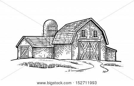 Organic farm. Vector engraving vintage black illustration. Isolated on white background.