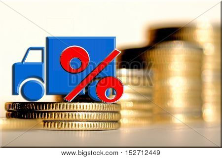 Car and red percent sign on a background of money . The concept of change of car prices .