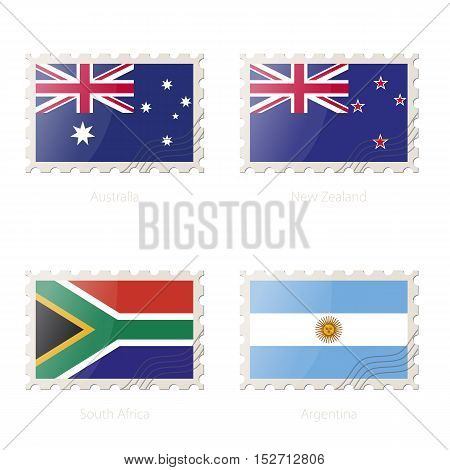Postage Stamp With The Image Of Australia, New Zealand, South Africa, Argentina Flag.