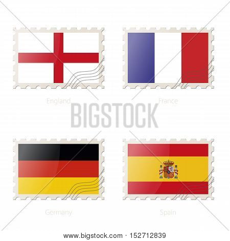 Postage Stamp With The Image Of England, France, Germany, Spain Flag.