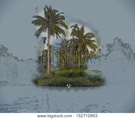 Palm trees on sea shore at beautiful sunny day. Image of tropical vacation and sunny happiness. Modern painting, background illustration.