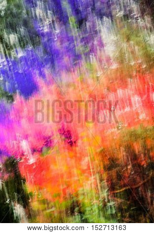 Blurry abstract colorful background. Green red magenta orange and blue colors. Toned.