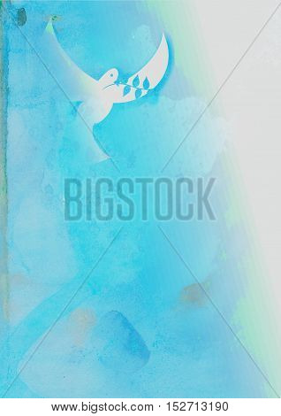 A blue watercolour background with a dove flying and carrying an olive branch.