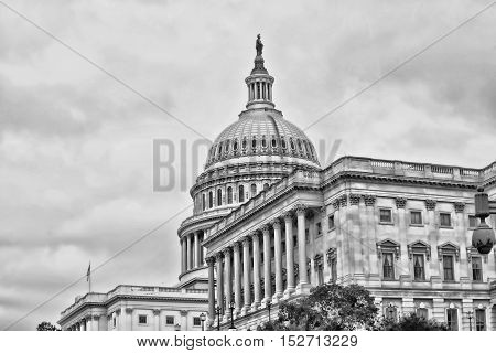 American Capital Building in Washington DC in black and white with room for your type.