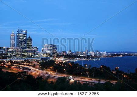 Night scene of Perth city center at the water front of Swan River