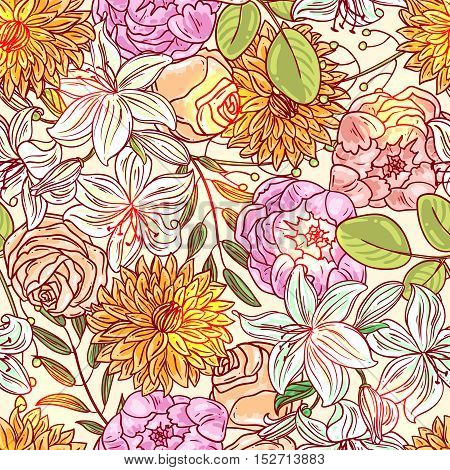 Hand drawn vector seamless pattern with flowers. Us for skrapbuking, tissue, textile, cloth, fabric, web material