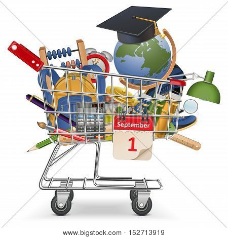 Vector Trolley with School Supplies isolated on white background