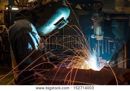 welder Industrial automotive part in a factory