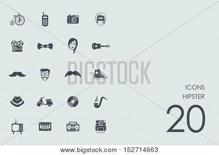 hipster vector set of modern simple icons