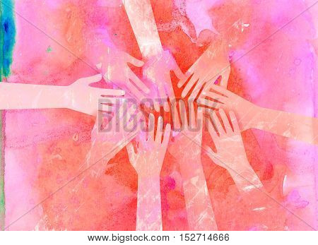 A group of watercolour hands reaching out in support and unity.