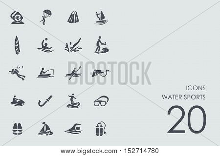 water sports vector set of modern simple icons