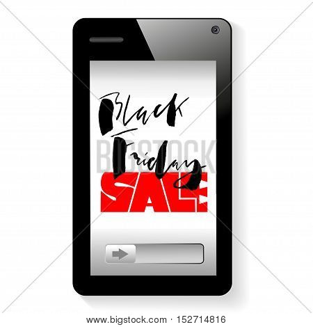 Vector background of online shoping. Mobile smartphone device. Black friday lettering