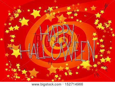Vector illustrated Happy Halloween poster with spiral and stars.