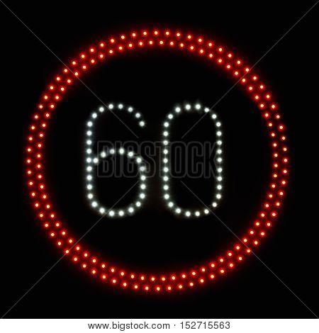 LED light speed limit sign 60,color image