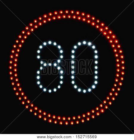 LED light speed limit sign 80,color image