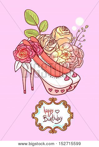Hand drawn vector illustration with flowers. Us for skrapbuking, tissue, textile, cloth, fabric, web material