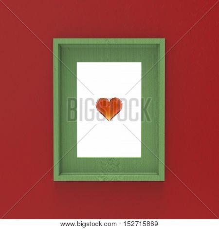 blank wooden frame on red wall with glass gem heart inside . 3d illustration mockup design.