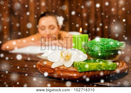 Pretty Calm Woman Lying On Aromatherapy, New Year Concept