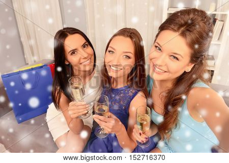 Pretty Women With Wineglasses Making Selfie On New Year Party