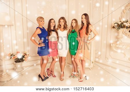 Beautiful Girlfriends In Dresses  Celebrating New Year Party