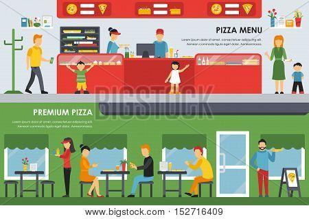 Pizza Menu and Premium Pizza flat concept web vector illustration. People, Waiter, Visitors. Pizzeria Restaurant interior presentation.