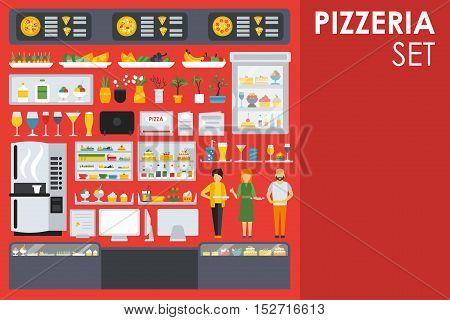 Big detailed Pizzeria Interior flat icons set. Menu, Glasses, Coffee, Computer. Pizza conceptual web vector illustration.