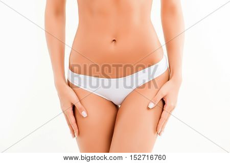 Close Up Photo Of Slim Woman's Body With White Panties