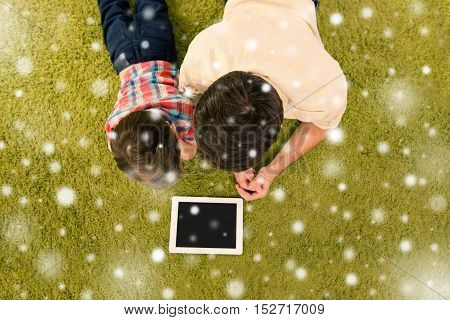 Top View Of Father Showing His Son How To Use Tablet, Xmas Concept