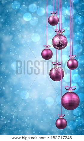 New Year blue background with pink Christmas balls. Vector illustration.