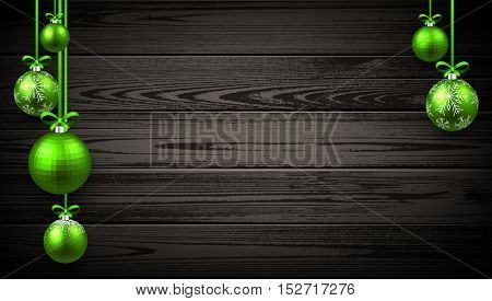 New Year wooden background with green Christmas balls. Vector illustration.