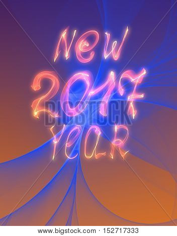 Happy new year 2017 isolated text and numbers written with flame light on bright abstract universe background.