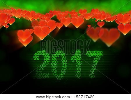 Happy new year 2017 isolated numbers written with light on black tech geometric background and red flying hearts 3d illustration.