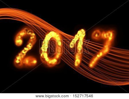 Happy new year 2017 isolated numbers written with flame fire sparkle light on black background elegant wave.