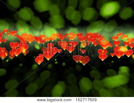 Red gem hearts isolated on dark and brigh bokeh background. Geometric rumpled triangular low poly style graphic 3d render illustration. Raster polygonal design for your business.